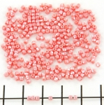 Czech faceted round 2 mm - alabaster pastel light coral