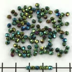 Czech faceted round 3 mm - iris green