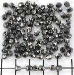 Czech faceted round 4 mm - hematite