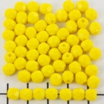 Czech faceted round 6 mm - opaque yellow