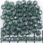 Tsjechisch facet rond 6 mm - blue-green marble