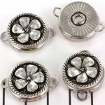 buttons tussenzetsel bloem - lichtzilver