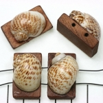 verdeler hout met schelp - breed met korte streepjes