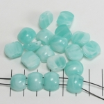 spacer acrylic gemstone flat oval - aqua