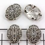 ovaal plat versierd 24 mm - zilver