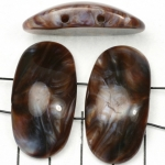 space acrylic gemstone 37 mm - brown with shell shine