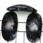 space acrylic gemstone 37 mm - black with shell shine
