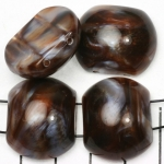 spacer acrylic gemstone 24 mm - brown with shell shine