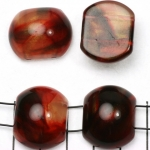 spacer acrylic gemstone 24 mm - red with golden shine