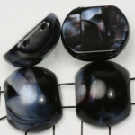 spacer acrylic gemstone 24 mm - black with shell shine