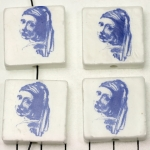 delft-ware ceramic tile vertical  - the girl with a pearl