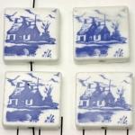 delfts blauw tegeltje verticaal - huisjes