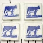 delfts blauw tegeltje verticaal - koe