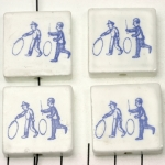 delft-ware ceramic tile vertical  - kids with a hoop