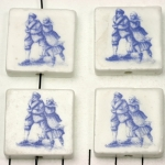 delft-ware ceramic tile vertical  - ice skate