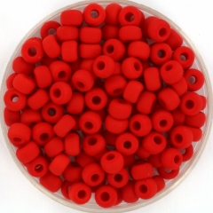 60 to 100 Beads 50 Grams Matte Red Mixed Shapes Glass Beads