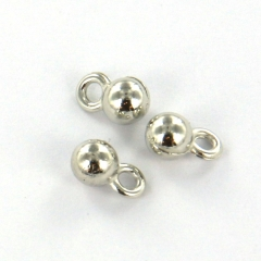 Extra pictures charm small round ball 4 mm - silver