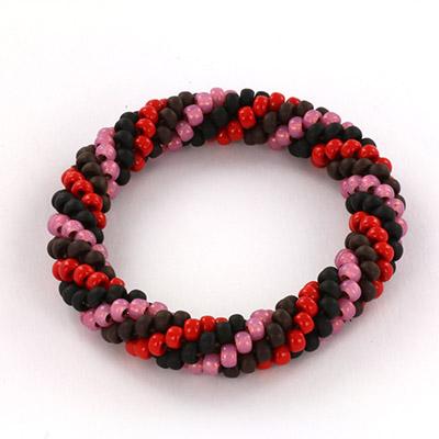 Extra foto's DIY kit armband haken met 6/0 - pink terra