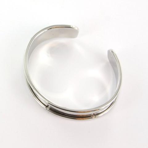 Extra foto's metalen basis armband voor 10 mm koord - lichtzilver