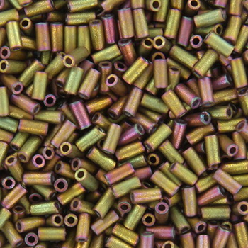 Extra foto's miyuki bugles 3 mm - metallic matte khaki iris