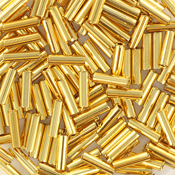Extra foto's miyuki bugles 6 mm - 24kt gold plated
