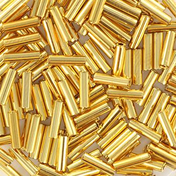 Extra foto's miyuki bugles 6 mm - 6mm miyuki bugle bead 24kt gold plated 50 grams