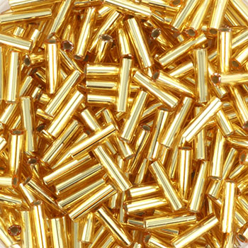 Extra pictures miyuki bugles 6 mm - silverlined gold