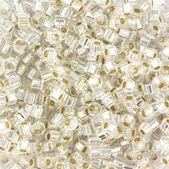 Extra foto's miyuki cubes 1.8x1.8 mm - silverlined crystal