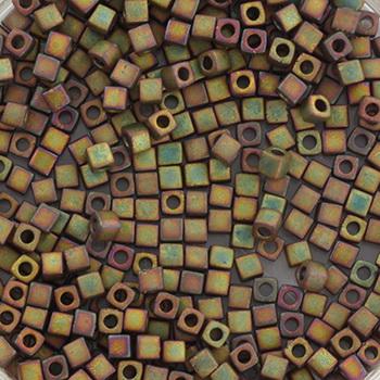Extra foto's miyuki cubes 1.8mm - metallic matte iris khaki