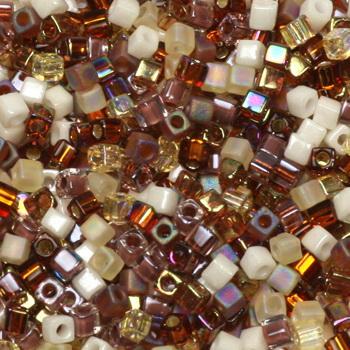 Extra foto's miyuki cubes 1.8mm - mix golden grains
