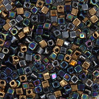 Extra foto's miyuki cubes 1.8mm - 1.8mm cube mix - metallic rain