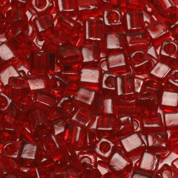 Extra foto's miyuki cubes 3mm - transparant ruby