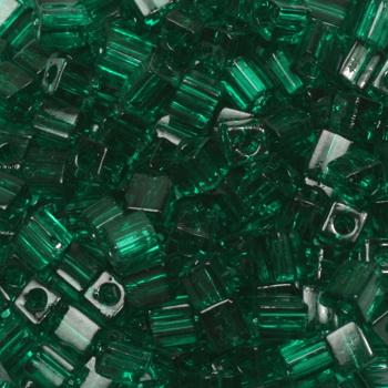 Extra foto's miyuki cubes 3mm - transparant emerald