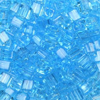 Extra foto's miyuki cubes 3mm - transparant aqua