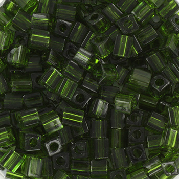 Extra foto's miyuki cubes 3mm - transparant olive