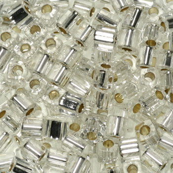 Extra foto's miyuki cubes 3mm - silverlined crystal