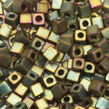 Extra foto's miyuki cubes 3mm - metallic matte khaki iris