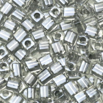 Extra foto's miyuki cubes 3mm - sparkled pewter lined crystal