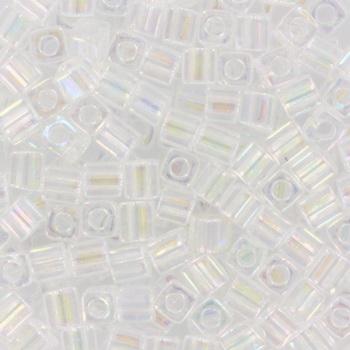 Extra foto's miyuki cubes 3mm - transparant ab crystal