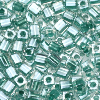 Extra foto's miyuki cubes 3mm - sparkled aqua green lined crystal