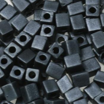 Extra foto's miyuki cubes 4mm - opaque matte gunmetal