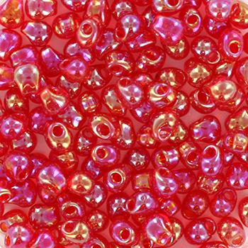 Extra foto's miyuki drop 3.4 mm - transparant red ab