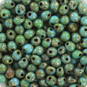 Extra foto's miyuki drop 3.4 mm - opaque picasso turquoise blue