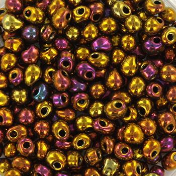 Extra foto's miyuki drop 3.4 mm - metallic iris gold