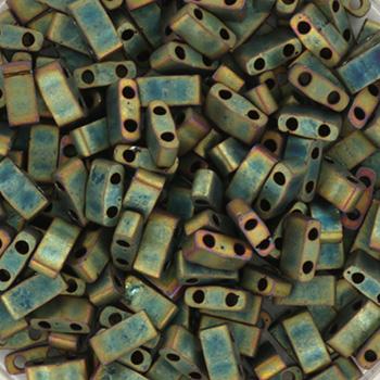 Extra foto's miyuki half tila 5x2.3 mm - metallic matte iris patina