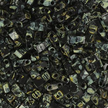 Extra foto's miyuki half tila 5x2.3 mm - opaque picasso black
