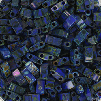 Extra foto's miyuki half tila 5x2.3 mm - opaque picasso cobalt