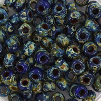 Extra foto's miyuki rocailles 6/0 - opaque picasso cobalt