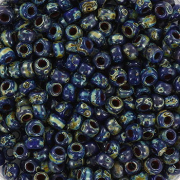 Extra foto's miyuki rocailles 8/0 - opaque picasso cobalt