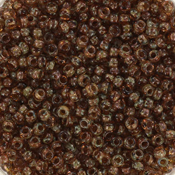 Extra pictures miyuki seed beads 11/0 - transparant picasso light smoky topaz